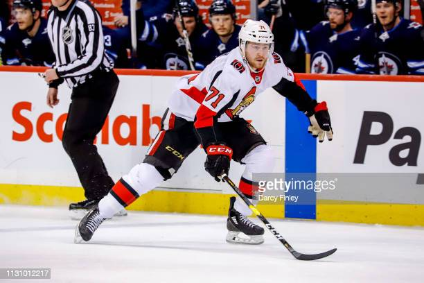 Chris Tierney of the Ottawa Senators follows the play down the ice during third period action against the Winnipeg Jets at the Bell MTS Place on...