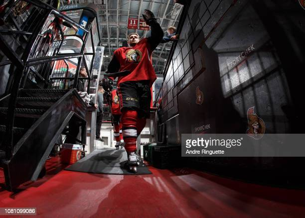 Chris Tierney of the Ottawa Senators leaves the ice after warmup prior to a game against the Boston Bruins at Canadian Tire Centre on December 9 2018...