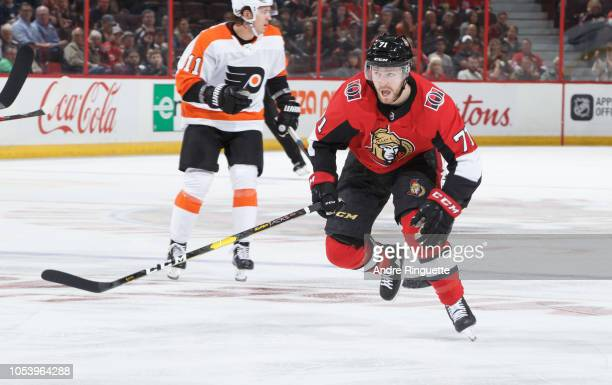 Chris Tierney of the Ottawa Senators skates against the Philadelphia Flyers at Canadian Tire Centre on October 10 2018 in Ottawa Ontario Canada