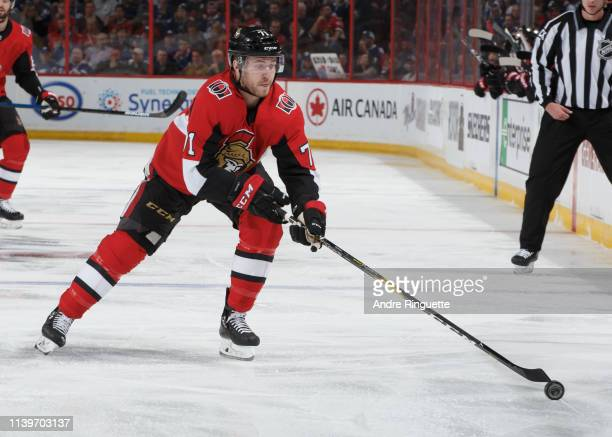 Chris Tierney of the Ottawa Senators skates against the Toronto Maple Leafs at Canadian Tire Centre on March 30 2019 in Ottawa Ontario Canada