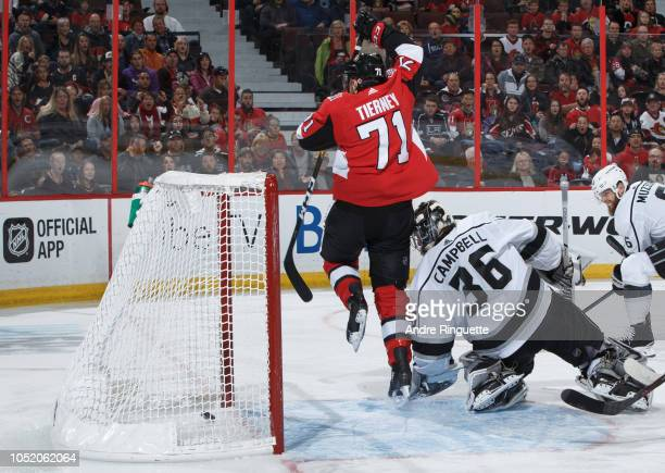 Chris Tierney of the Ottawa Senators tips the puck past Jack Campbell of the Los Angeles Kings scoring a first period goal at Canadian Tire Centre on...