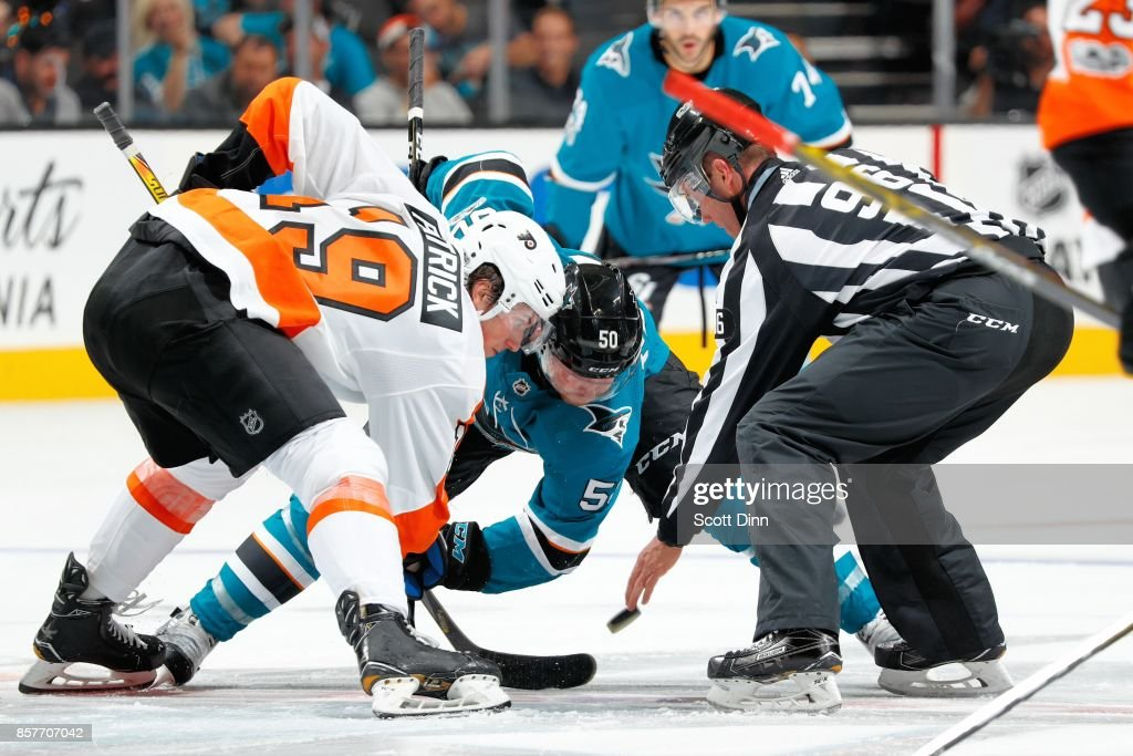 Chris Tierney #50 of the San Jose Sharks faces off against Patrick Nolan #19 of the Philadelphia Flyers during a NHL game at SAP Center at San Jose on October 4, 2017 in San Jose, California.