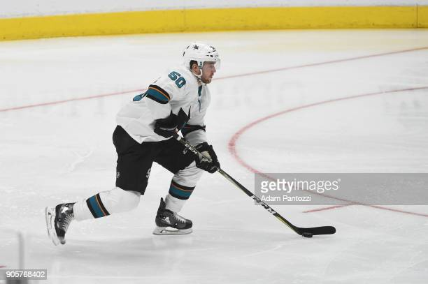 Chris Tierney of the San Jose Sharks handles the puck during a game against the Los Angeles Kings at STAPLES Center on January 15 2018 in Los Angeles...
