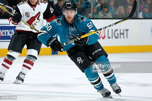 Chris Tierney of the San Jose Sharks looks during a NHL game against the Arizona Coyotes at SAP Center at San Jose on November 29, 2016 in San Jose,...