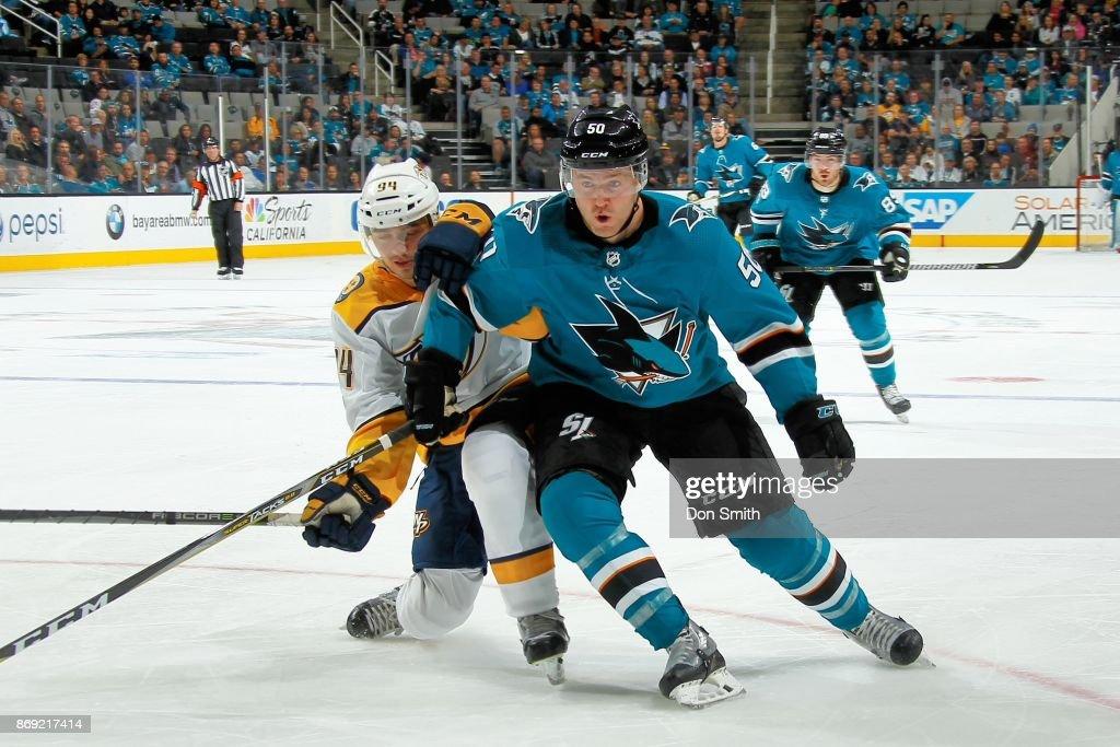 Chris Tierney #50 of the San Jose Sharks skates against Samuel Girard #94 of the Nashville Predators at SAP Center on November 1, 2017 in San Jose, California.