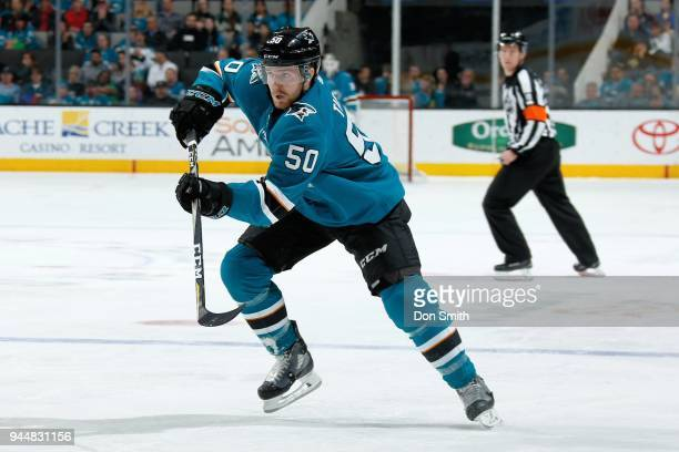 Chris Tierney of the San Jose Sharks skates during a NHL game against the Minnesota Wild at SAP Center on April 7 2018 in San Jose California Chris...