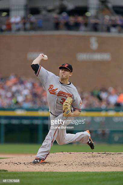 Chris Tillman of the Baltimore Orioles pitches against the Detroit Tigers during the first inning at Comerica Park on July 18 2015 in Detroit...