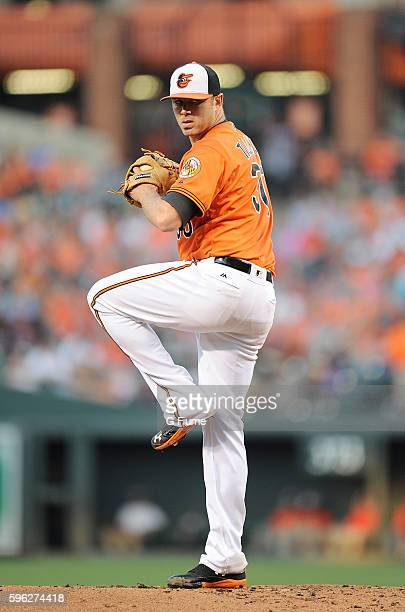 Chris Tillman of the Baltimore Orioles pitches against the Houston Astros at Oriole Park at Camden Yards on August 20 2016 in Baltimore Maryland