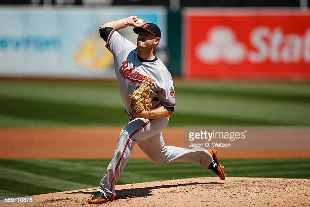 Chris Tillman of the Baltimore Orioles pitches against the Oakland Athletics during the second inning at the Oakland Coliseum on August 11 2016 in...