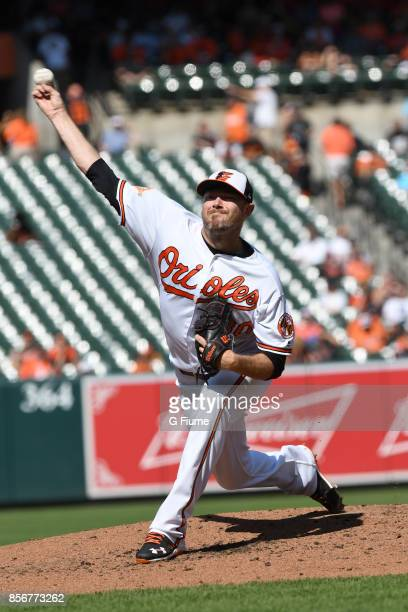 Chris Tillman of the Baltimore Orioles pitches against the Tampa Bay Rays at Oriole Park at Camden Yards on September 24 2017 in Baltimore Maryland