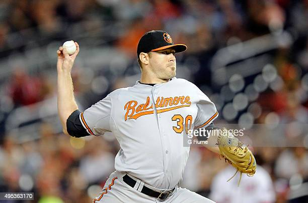 Chris Tillman of the Baltimore Orioles pitches against the Washington Nationals at Nationals Park on September 23 2015 in Washington DC