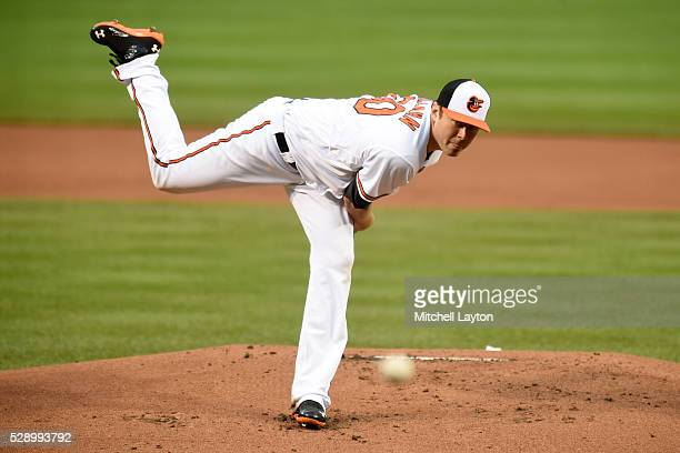 Chris Tillman of the Baltimore Orioles pitches during a baseball game against the New York Yankees at Oriole Park at Camden Yards on May 3 2016 in...