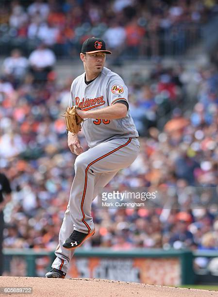 Chris Tillman of the Baltimore Orioles pitches during the game against the Detroit Tigers at Comerica Park on September 11 2016 in Detroit Michigan...