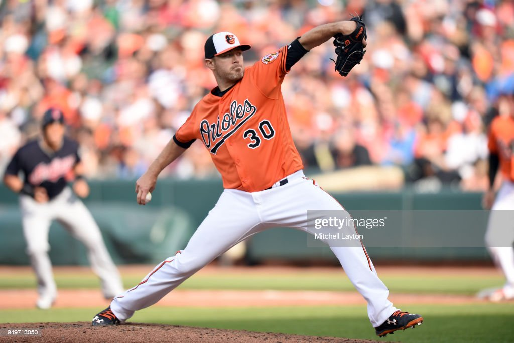 Chris Tillman #30 of the Baltimore Orioles pitches in sixth inning during a baseball game against the Cleveland Indians at Oriole Park at Camden Yards on April 21, 2018 in Baltimore, Maryland.
