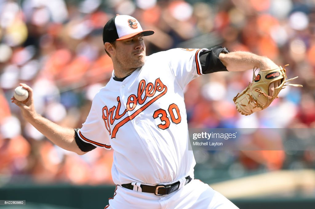 Chris Tillman #30 of the Baltimore Orioles pitches in the first inning during a baseball game against the Toronto Blue Jays at Oriole Park at Camden Yards on September 3, 2017 in Baltimore, Maryland.