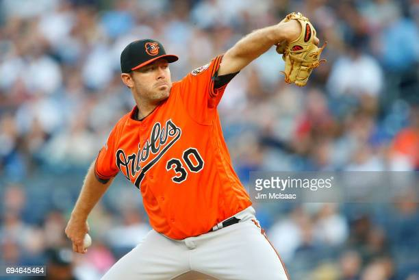 Chris Tillman of the Baltimore Orioles pitches in the first inning against the New York Yankees at Yankee Stadium on June 10 2017 in the Bronx...