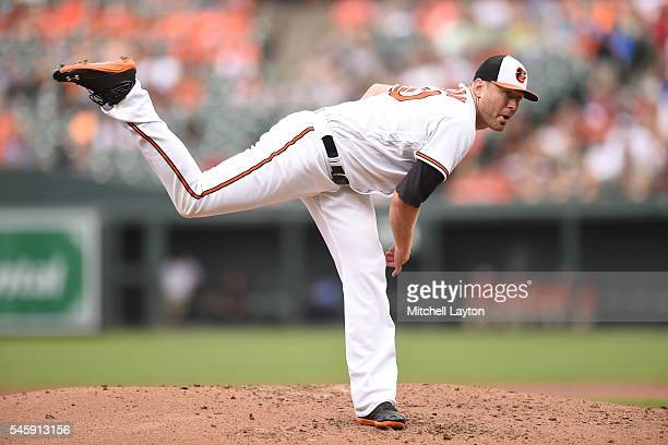Chris Tillman of the Baltimore Orioles pitches in the third inning during a baseball game against the Los Angeles Angels of Anaheim at Oriole Park at...
