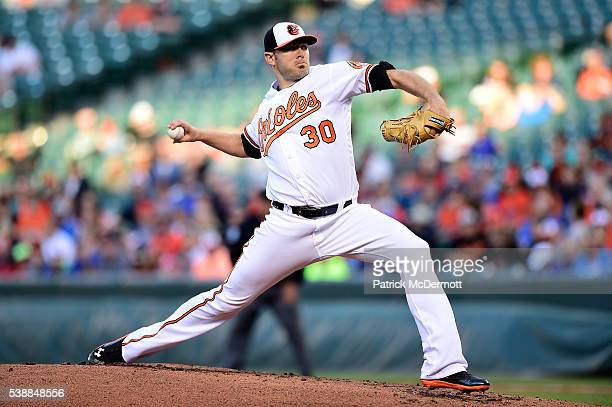 Chris Tillman of the Baltimore Orioles throws a pitch to a Kansas City Royals batter in the second inning during a MLB baseball game at Oriole Park...