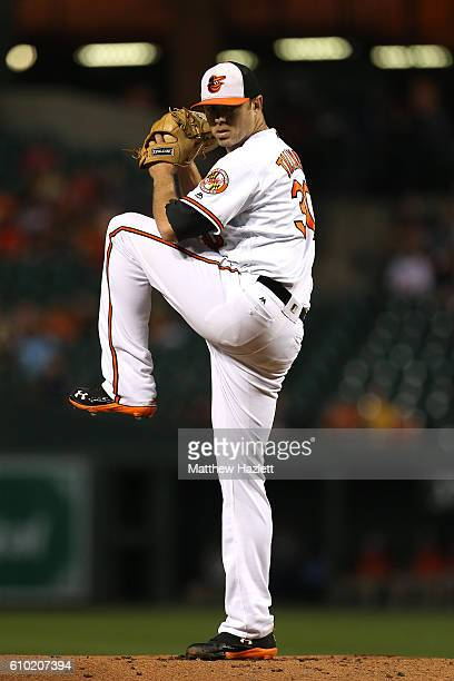 Chris Tillman of the Baltimore Orioles works in the first inning against the Boston Red Sox at Oriole Park at Camden Yards on September 22 2016 in...