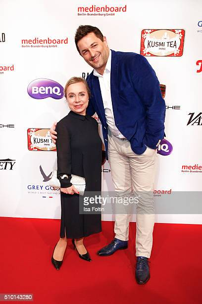 Chris Tine Urspruch and her husband Tobias Materna attend the Medienboard BerlinBrandenburg Reception on February 13 2016 in Berlin Germany