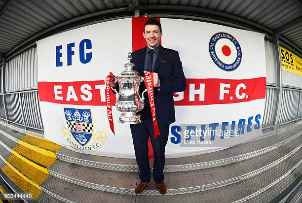Chris Todd manager of Eastleigh poses with the Fa Cup trophy during an Eastleigh media day ahead of the Emirates FA Cup third round match against...