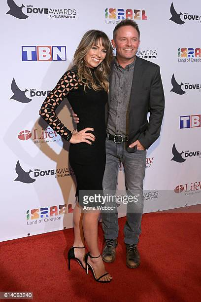 Chris Tomlin and wife Lauren Bricken arrive at the 2016 Dove Awards at Allen Arena Lipscomb University on October 11 2016 in Nashville Tennessee