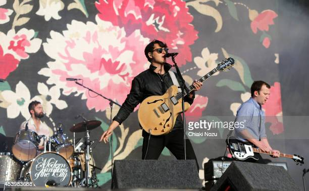 Chris Tomson Ezra Koenig and Chris Baio of Vampire Weekend perform on Day 1 of the Reading Festival at Richfield Avenue on August 22 2014 in Reading...