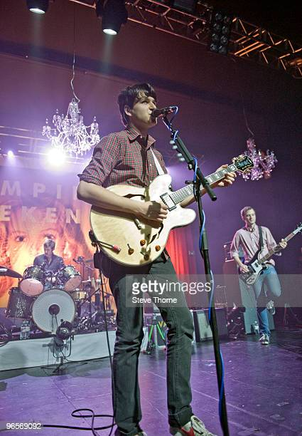 Chris Tomson Ezra Koenig and Chris Baio of Vampire Weekend perform on stage at O2 Academy on February 10 2010 in Birmingham England Ezra Koenig plays...