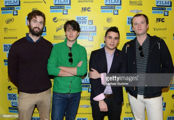 Chris Tomson Ezra Koenig Rostam Batmanglij and Chris Baio of Vampire Weekend attend the green room photo op for the screening of At Any Price during...