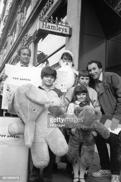 Chris Tranchell presenter of TV's Play School with miner's children Steven Matthews nine Victor Matthews and Jane Matthews six of StokeonTrent Father...