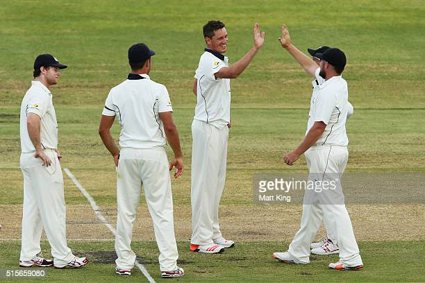 Chris Tremain of the Bushrangers celebrates with team mates after taking the wicket of Trent Copeland of the Blues during day one of the Sheffield...