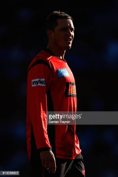 Chris Tremain of the Melbourne Renegade warms up before the Big Bash League match between the Adelaide Strikers and the Melbourne Renegades at...