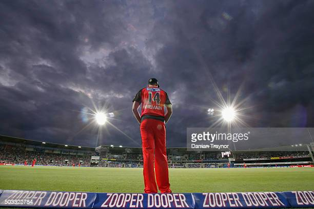 Chris Tremain of the Melbourne Renegades fields on the boundary during the Big Bash League match between the Hobart Hurricanes and the Melbourne...