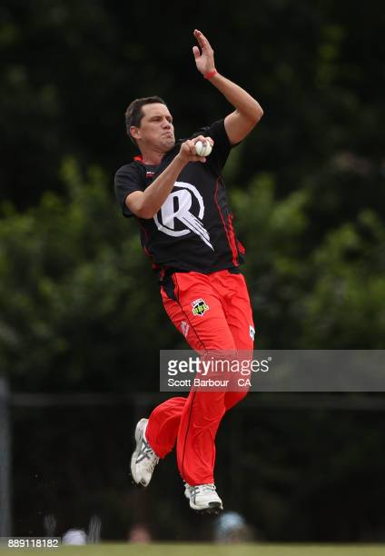 Chris Tremain of the Renegades bowls during the practice match during the Melbourne Renegades BBL fan day at Geelong Cricket Ground on December 10...