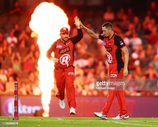 Chris Tremain of the Renegades celebrates a wicket with Aaron Finch of the Renegades during the Big Bash League match between the Melbourne Renegades...