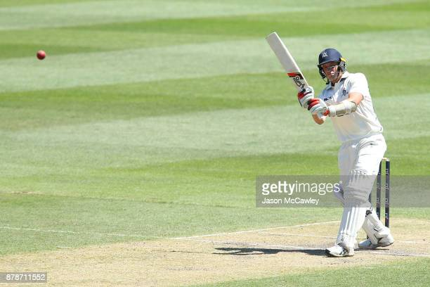 Chris Tremain of Victoria bats during day two of the Sheffield Shield match between New South Wales and Victoria at North Sydney Oval on November 25...