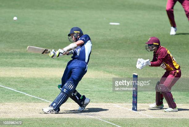 Chris Tremain of Victoria bats during the JLT One Day Cup match between Queensland and Victoria at Riverway Stadium on September 16 2018 in...
