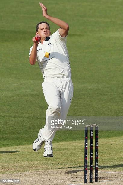 Chris Tremain of Victoria bowls during day three of the Sheffield Shield match between Victoria and Western Australia at Melbourne Cricket Ground on...