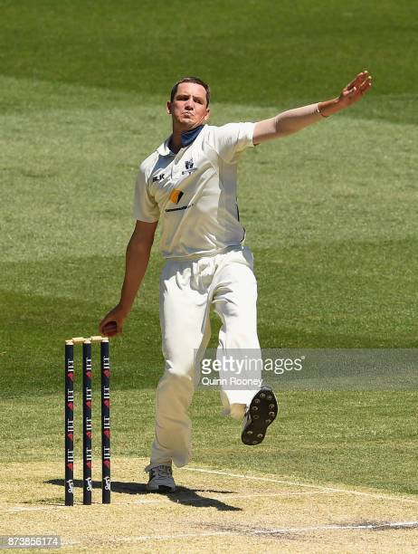 Chris Tremain of Victoria bowls during day two of the Sheffield Shield match between Victoria and Tasmania at Melbourne Cricket Ground on November 14...