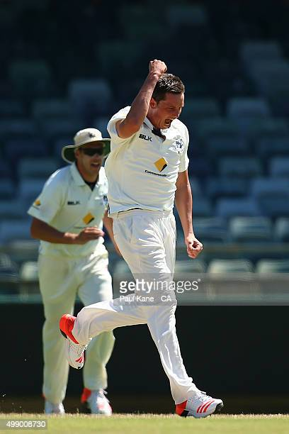 Chris Tremain of Victoria celebrates after dismissing Andrew Tye of Western Australia during day two of the Sheffield Shield match between Western...