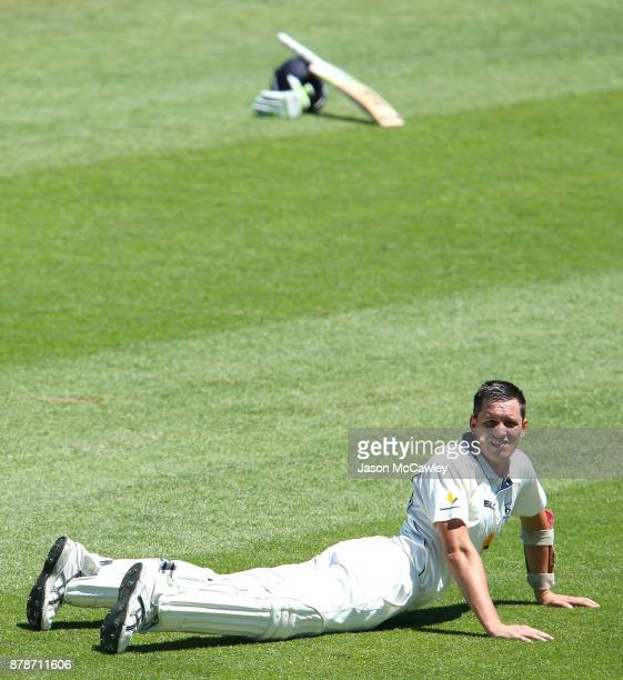 Chris Tremain of Victoria stretches during day two of the Sheffield Shield match between New South Wales and Victoria at North Sydney Oval on...