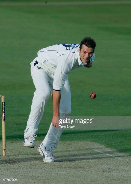 Chris Tremlett of Hampshire bowls during Day 1 of the Frizzell County Championship Division 1 match between Hampshire and Middlesex at The Rose Bowl...