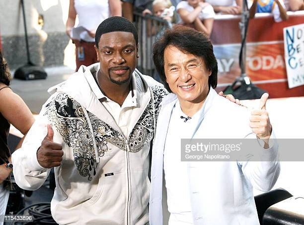 Chris Tucker and Jackie Chan at the NBC's Today Show at Rockefellar Centre on August 3 2007 in New York United States