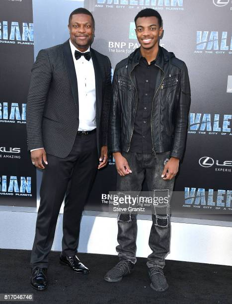 Chris Tucker and son Destin Christopher arrives at the Premiere Of EuropaCorp And STX Entertainment's Valerian And The City Of A Thousand Planets at...