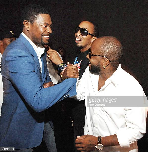 "Chris Tucker, Artist, Producer, Film Maker Dallas Austin and Artist Producer Jermaine Dupri celebrates Chris Tucker's new film ""Rush Hour 3"" at his..."