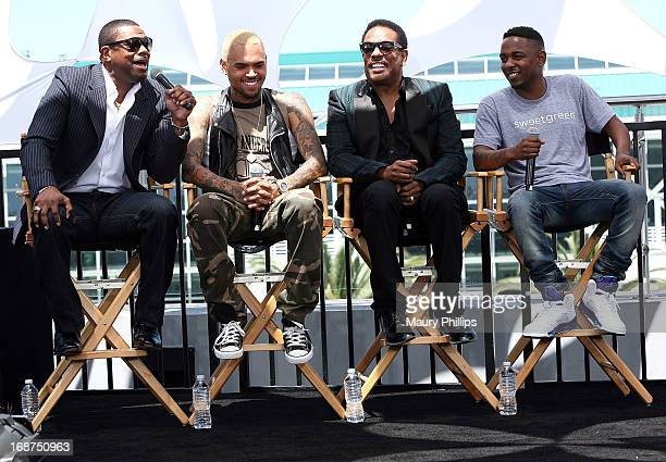 Chris Tucker Chris Brown Charlie Wilson and Kendrick Lamar attend the BET Awards 2013 Press Conference at Icon Ultra Lounge on May 14 2013 in Los...