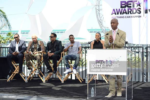 Chris Tucker Chris Brown Charlie Wilson Kendrick Lamar Tamar Braxton and Stephen G Hill on stage at the 2013 BET Awards press conference at Icon...