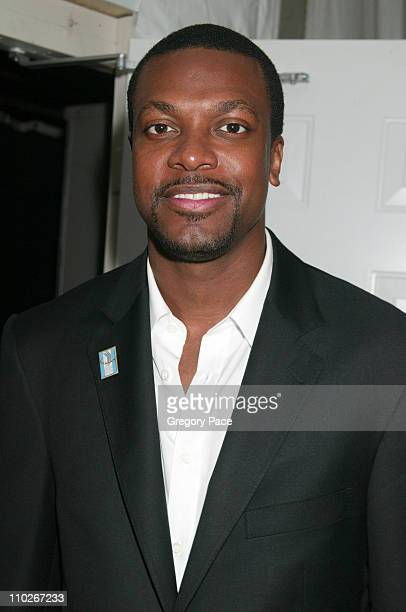 Chris Tucker during Olympus Fashion Week Spring 2006 Fashion For Relief Backstage and Front Row at Bryant Park in New York City New York United States