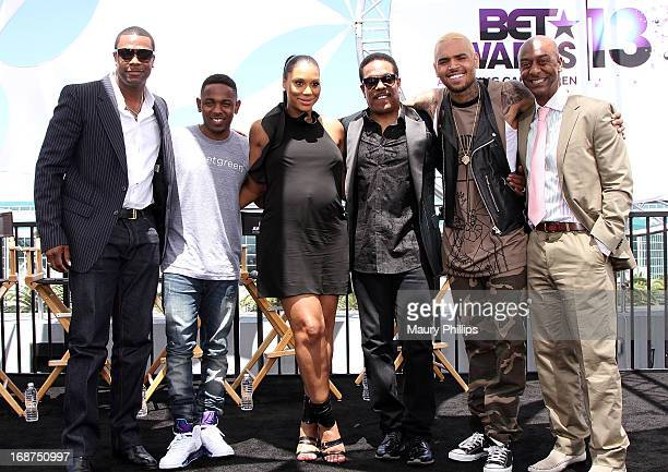 Chris Tucker Kendrick Lamar Tamar Braxton Charlie Wilson Chris Brown and Stephen Hill attend the BET Awards 2013 Press Conference at Icon Ultra...