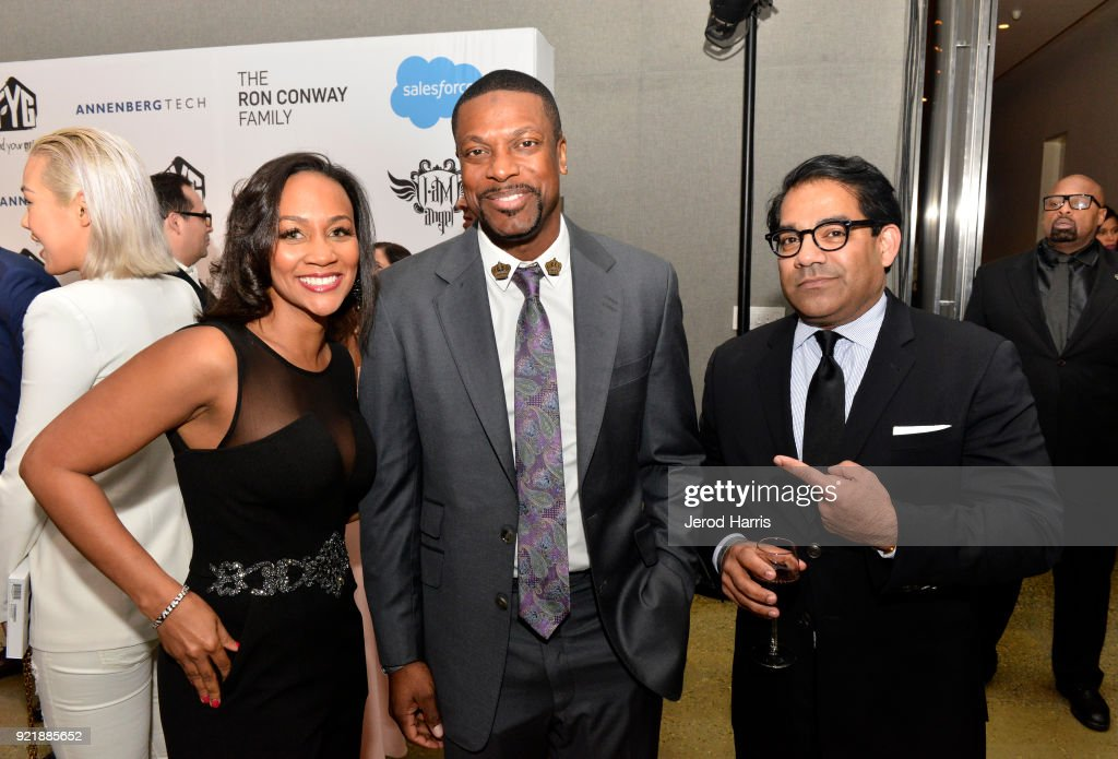 Chris Tucker (center), Kuji Chahal (right) and guest (left) at will.i.am's i.am.angel Foundation TRANS4M 2018 Gala, Honoring Sean Parker, Chairman, Parker Institute for Cancer Immunotherapy at Milk Studios on February 20, 2018 in Hollywood, California.